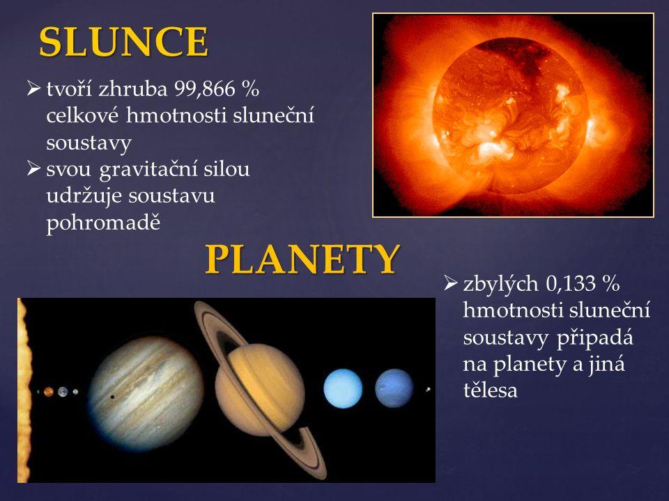 SLUNCE ttvoří zhruba 99,866 % celkové hmotnosti sluneční soustavy ssvou gravitační silou udržuje soustavu pohromadě zzbylých 0,133 % hmotnosti s