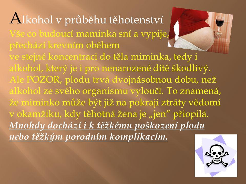 A lkohol v průběhu těhotenství Vše co budoucí maminka sní a vypije, přechází krevním oběhem ve stejné koncentraci do těla miminka, tedy i alkohol, který je i pro nenarozené dítě škodlivý.