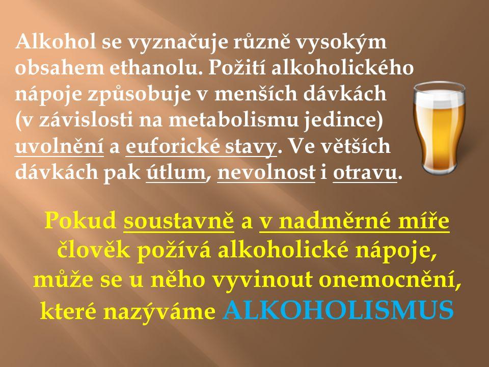 A lkoholismus Alkoholismus = závislost na alkoholu Je nemoc, která postihuje nejen celou osobnost člověka po stránce psychické a fyzické, ale i jeho blízké, zejména nejbližší rodinné členy.