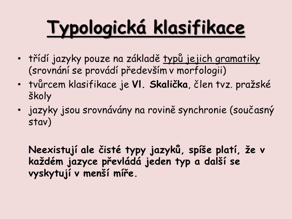 Typologická klasifikace třídí jazyky pouze na základě typů jejich gramatiky (srovnání se provádí především v morfologii) tvůrcem klasifikace je Vl.