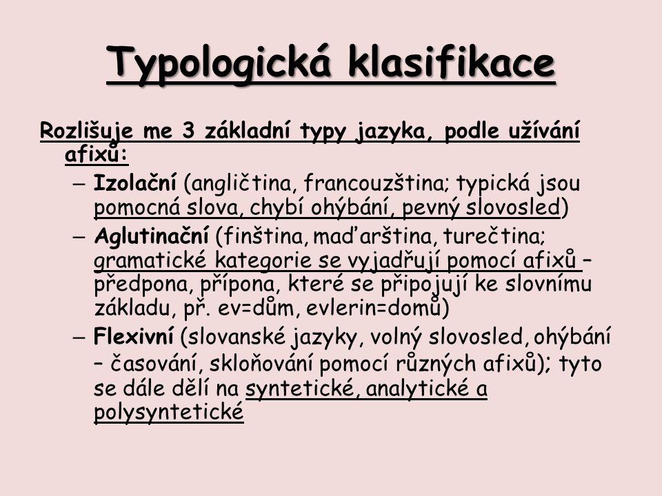 Typologická klasifikace Rozlišuje me 3 základní typy jazyka, podle užívání afixů: – Izolační (angličtina, francouzština; typická jsou pomocná slova, chybí ohýbání, pevný slovosled) – Aglutinační (finština, maďarština, turečtina; gramatické kategorie se vyjadřují pomocí afixů – předpona, přípona, které se připojují ke slovnímu základu, př.