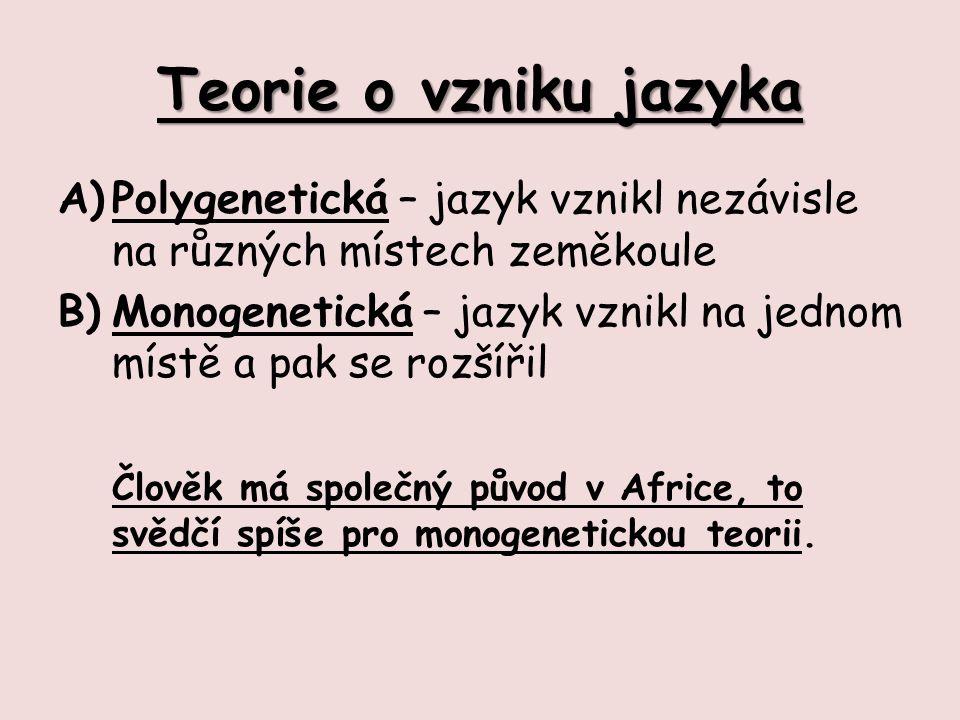 Teorie o vzniku jazyka A)Polygenetická – jazyk vznikl nezávisle na různých místech zeměkoule B)Monogenetická – jazyk vznikl na jednom místě a pak se rozšířil Člověk má společný původ v Africe, to svědčí spíše pro monogenetickou teorii.