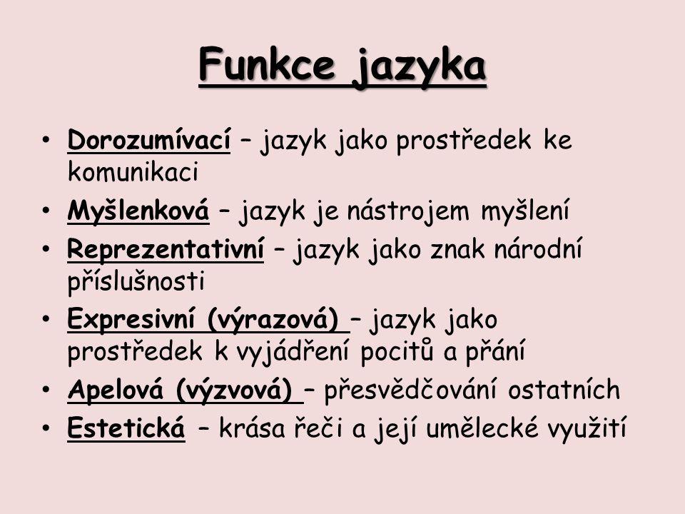Funkce jazyka Dorozumívací – jazyk jako prostředek ke komunikaci Myšlenková – jazyk je nástrojem myšlení Reprezentativní – jazyk jako znak národní pří