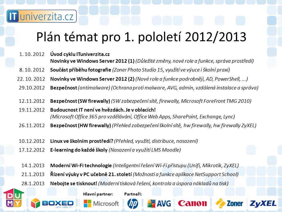 Hlavní partner:Partneři: Plán témat pro 1. pololetí 2012/2013 1. 10. 2012Úvod cyklu ITuniverzita.cz Novinky ve Windows Server 2012 (1) (Důležité změny