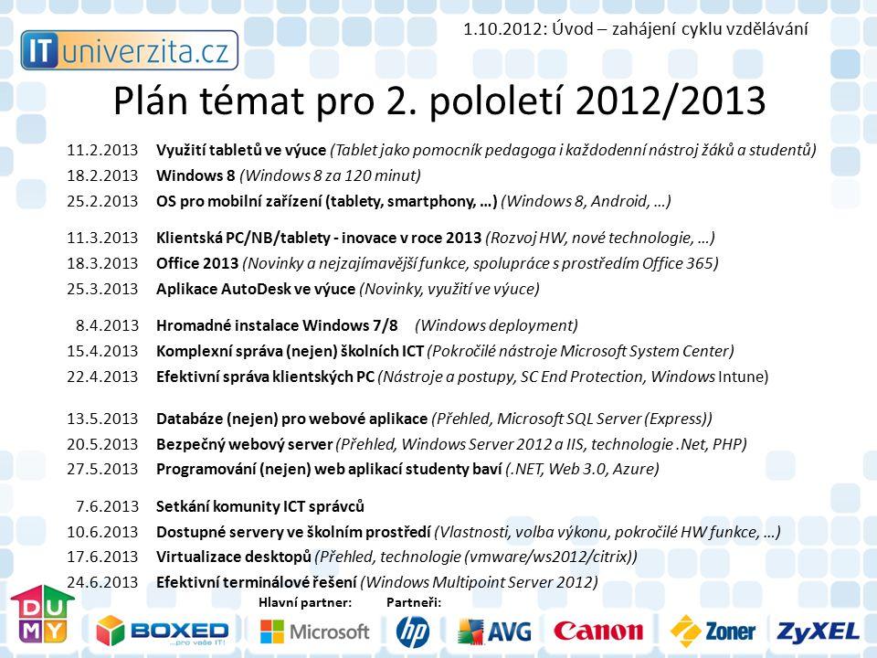 Hlavní partner:Partneři: Plán témat pro 2. pololetí 2012/2013 11.2.2013Využití tabletů ve výuce (Tablet jako pomocník pedagoga i každodenní nástroj žá