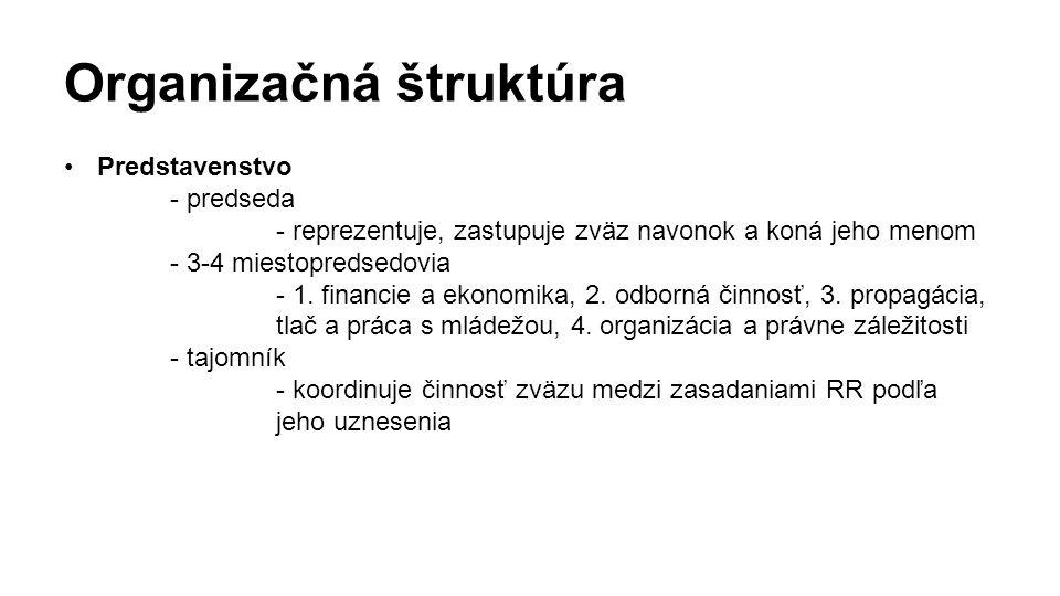 Organizačná štruktúra Predstavenstvo - predseda - reprezentuje, zastupuje zväz navonok a koná jeho menom - 3-4 miestopredsedovia - 1.