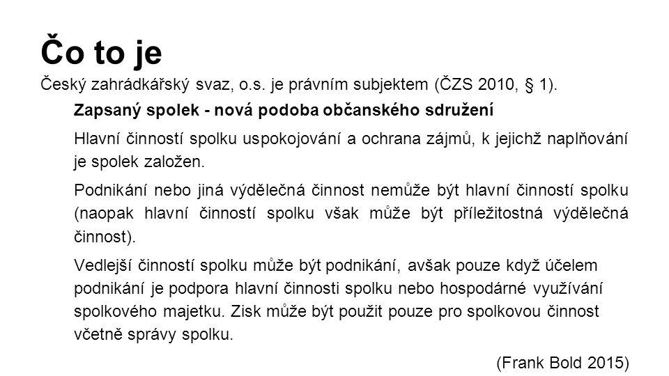 Čo to je Český zahrádkářský svaz, o.s. je právním subjektem (ČZS 2010, § 1).