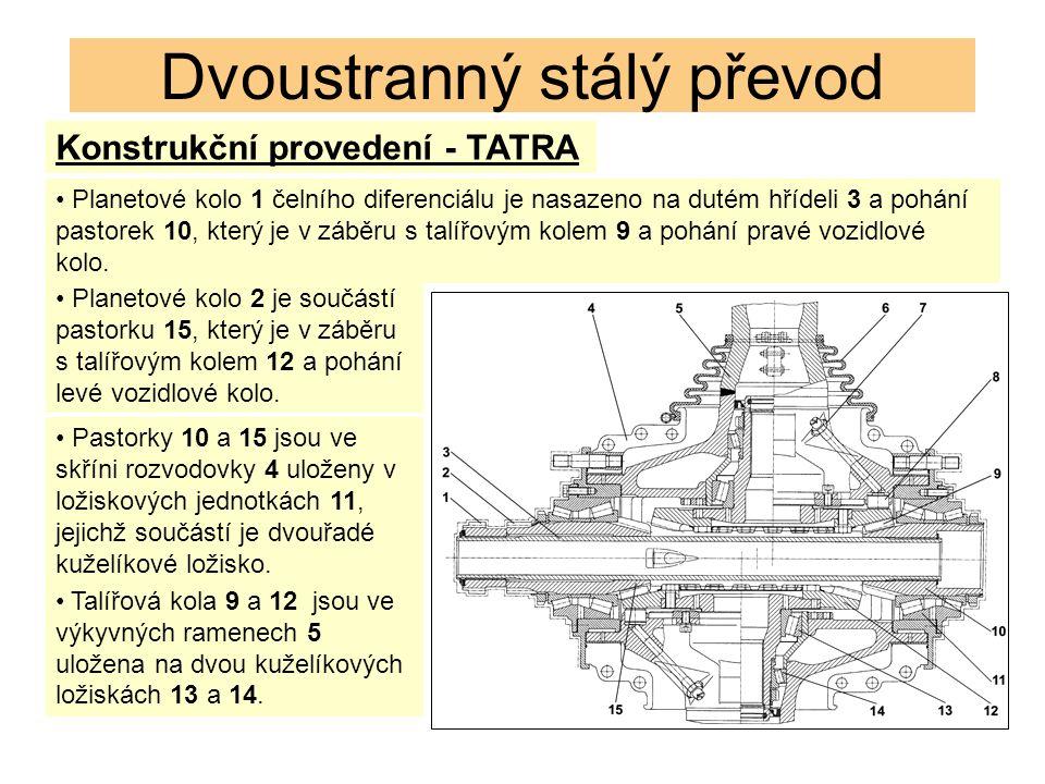 Dvoustranný stálý převod Konstrukční provedení - TATRA Planetové kolo 1 čelního diferenciálu je nasazeno na dutém hřídeli 3 a pohání pastorek 10, který je v záběru s talířovým kolem 9 a pohání pravé vozidlové kolo.