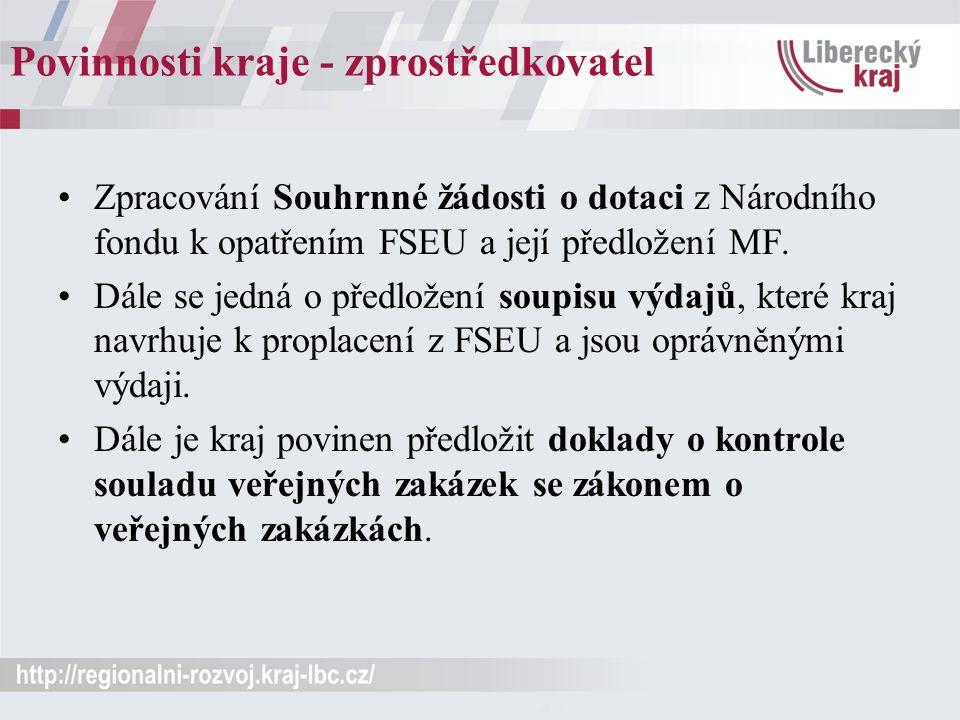Povinnosti kraje - zprostředkovatel Zpracování Souhrnné žádosti o dotaci z Národního fondu k opatřením FSEU a její předložení MF. Dále se jedná o před