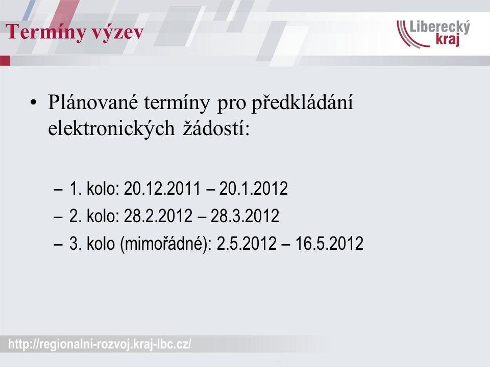 Termíny výzev Plánované termíny pro předkládání elektronických žádostí: –1. kolo: 20.12.2011 – 20.1.2012 –2. kolo: 28.2.2012 – 28.3.2012 –3. kolo (mim