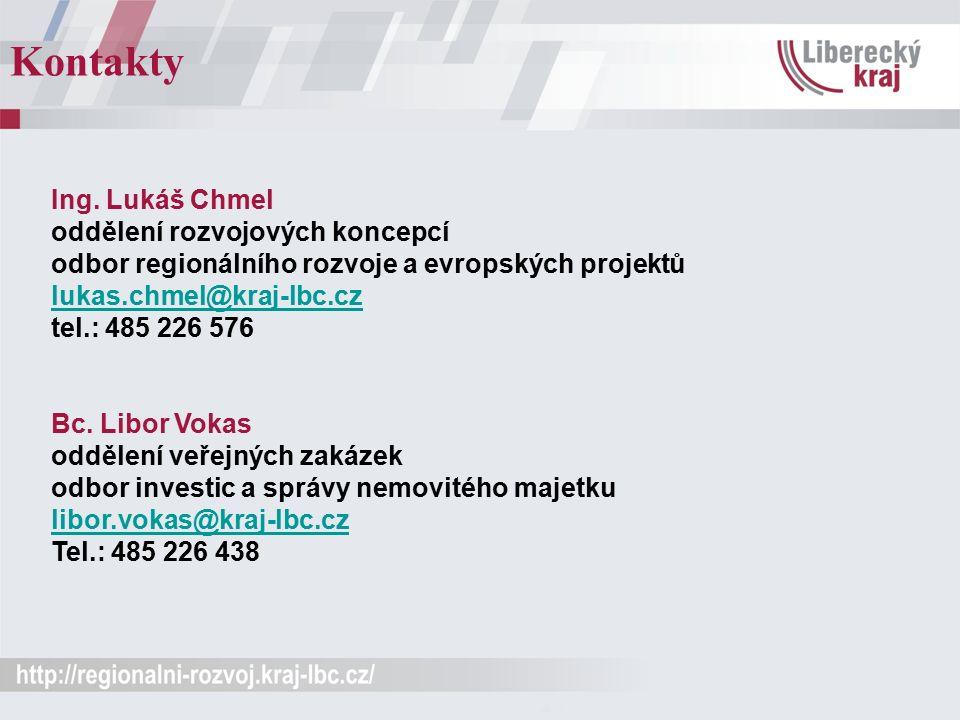 Kontakty Ing. Lukáš Chmel oddělení rozvojových koncepcí odbor regionálního rozvoje a evropských projektů lukas.chmel@kraj-lbc.cz tel.: 485 226 576 luk