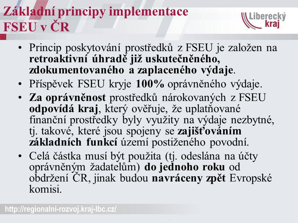 Základní principy implementace FSEU v ČR Princip poskytování prostředků z FSEU je založen na retroaktivní úhradě již uskutečněného, zdokumentovaného a zaplaceného výdaje.