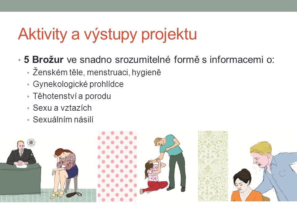 Aktivity a výstupy projektu 5 Brožur ve snadno srozumitelné formě s informacemi o: Ženském těle, menstruaci, hygieně Gynekologické prohlídce Těhotenství a porodu Sexu a vztazích Sexuálním násilí