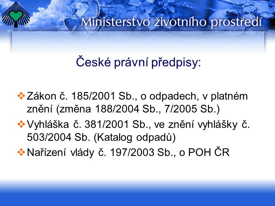 České právní předpisy:  Zákon č. 185/2001 Sb., o odpadech, v platném znění (změna 188/2004 Sb., 7/2005 Sb.)  Vyhláška č. 381/2001 Sb., ve znění vyhl