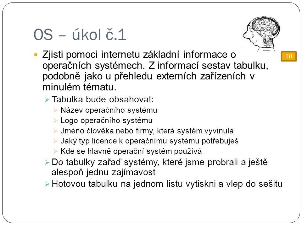 OS – úkol č.1 Zjisti pomoci internetu základní informace o operačních systémech.