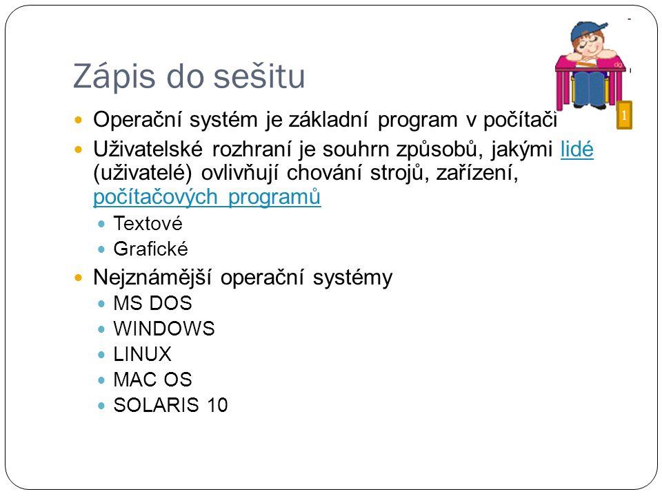 Zápis do sešitu Operační systém je základní program v počítači Uživatelské rozhraní je souhrn způsobů, jakými lidé (uživatelé) ovlivňují chování strojů, zařízení, počítačových programůlidé počítačových programů Textové Grafické Nejznámější operační systémy MS DOS WINDOWS LINUX MAC OS SOLARIS 10 1
