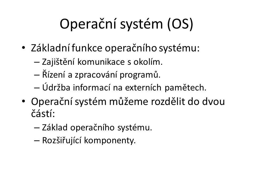 Operační systém (OS) Základní funkce operačního systému: – Zajištění komunikace s okolím. – Řízení a zpracování programů. – Údržba informací na extern