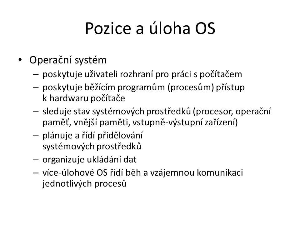 Pozice a úloha OS Operační systém – poskytuje uživateli rozhraní pro práci s počítačem – poskytuje běžícím programům (procesům) přístup k hardwaru počítače – sleduje stav systémových prostředků (procesor, operační paměť, vnější paměti, vstupně-výstupní zařízení) – plánuje a řídí přidělování systémových prostředků – organizuje ukládání dat – více-úlohové OS řídí běh a vzájemnou komunikaci jednotlivých procesů