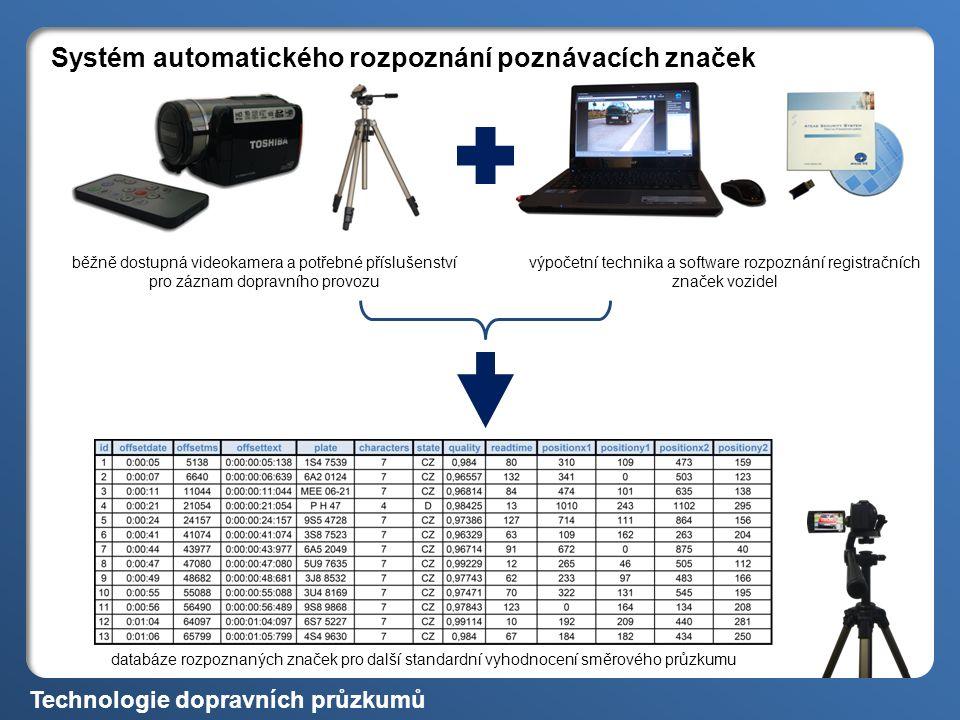 Systém automatického rozpoznání poznávacích značek databáze rozpoznaných značek pro další standardní vyhodnocení směrového průzkumu běžně dostupná videokamera a potřebné příslušenství pro záznam dopravního provozu výpočetní technika a software rozpoznání registračních značek vozidel Technologie dopravních průzkumů