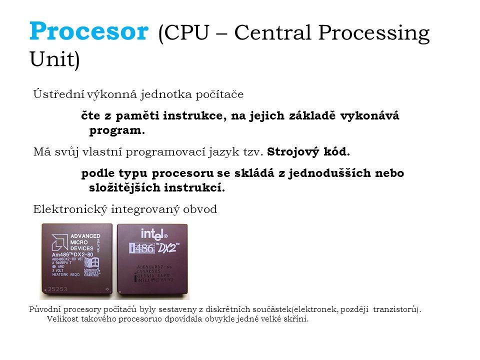 Součásti procesoru Řadič (řídicí jednotka) - jeho jádro zajišťuje řízení činnosti procesoru v návaznosti na povely programu (načítání instrukcí, jejich dekódování, zpracování instrukcí.) – obsahuje celou řadu rychlých pracovních pamětí malé kapacity tzv.