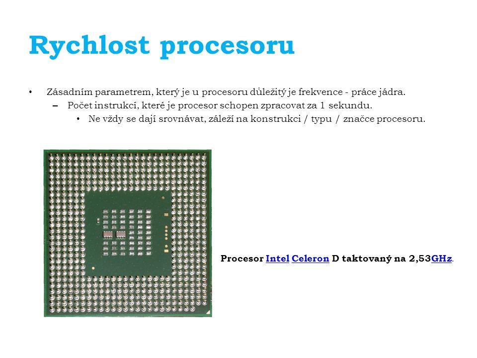 Rychlost procesoru Zásadním parametrem, který je u procesoru důležitý je frekvence - práce jádra.