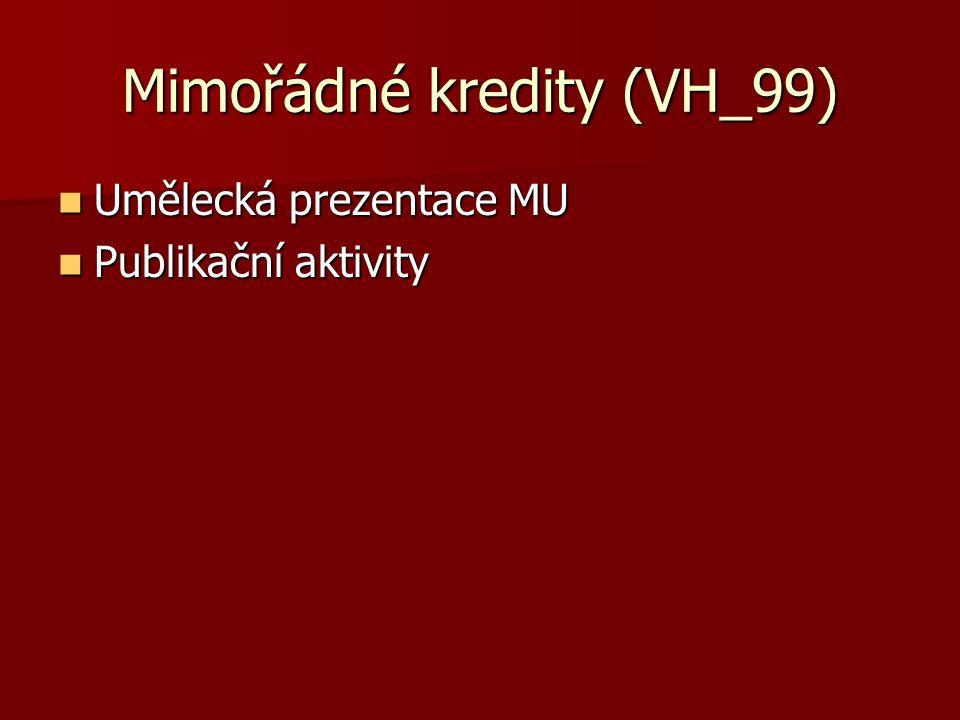 Mimořádné kredity (VH_99) Umělecká prezentace MU Umělecká prezentace MU Publikační aktivity Publikační aktivity