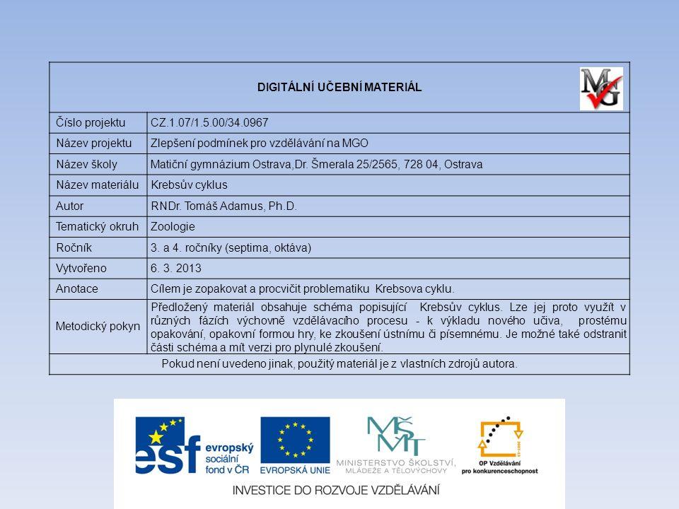 DIGITÁLNÍ UČEBNÍ MATERIÁL Číslo projektuCZ.1.07/1.5.00/34.0967 Název projektuZlepšení podmínek pro vzdělávání na MGO Název školyMatiční gymnázium Ostr
