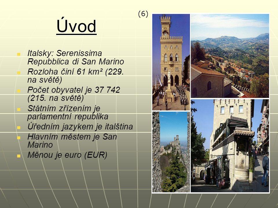 Úvod Italsky: Serenissima Repubblica di San Marino Rozloha činí 61 km² (229. na světě) Počet obyvatel je 37 742 (215. na světě) Státním zřízením je pa