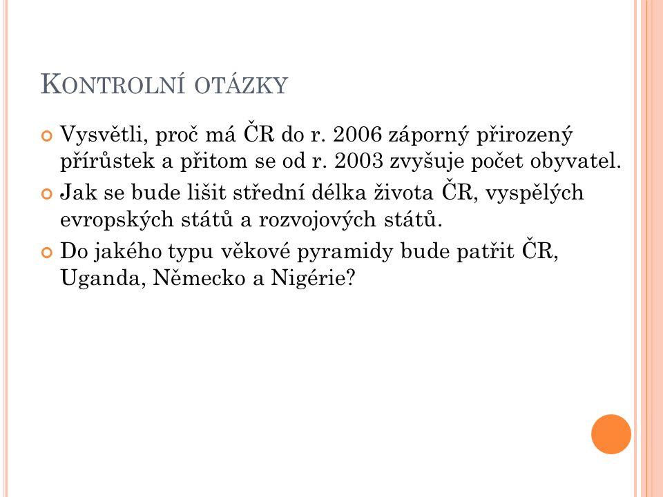 K ONTROLNÍ OTÁZKY Vysvětli, proč má ČR do r. 2006 záporný přirozený přírůstek a přitom se od r.
