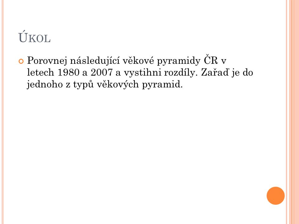 Ú KOL Porovnej následující věkové pyramidy ČR v letech 1980 a 2007 a vystihni rozdíly.