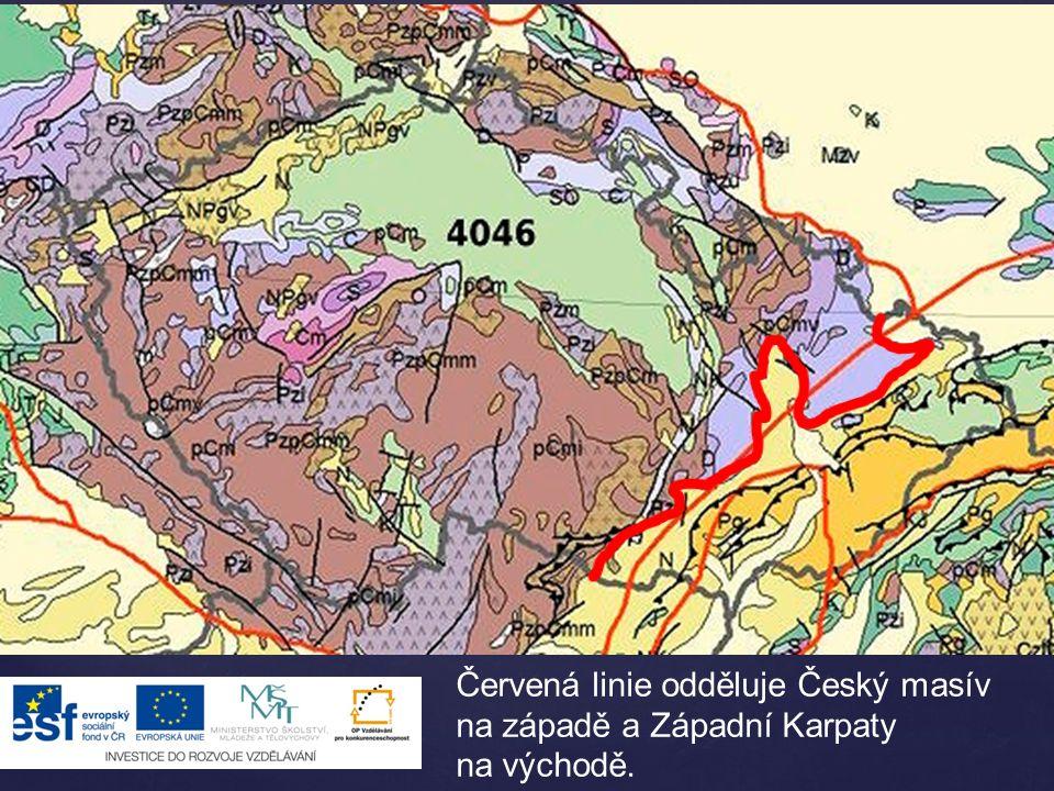 Červená linie odděluje Český masív na západě a Západní Karpaty na východě.
