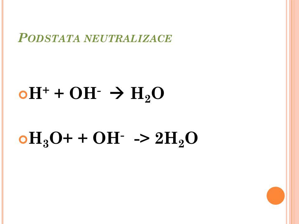 P ODSTATA NEUTRALIZACE H + + OH -  H 2 O H 3 O+ + OH - -> 2H 2 O