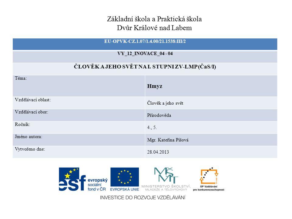 EU-OPVK-CZ.1.07/1.4.00/21.1538:III/2 VY_12_INOVACE_04 - 04 ČLOVĚK A JEHO SVĚT NA I. STUPNI ZV-LMP (ČaS/I) Téma: Hmyz Vzdělávací oblast: Člověk a jeho