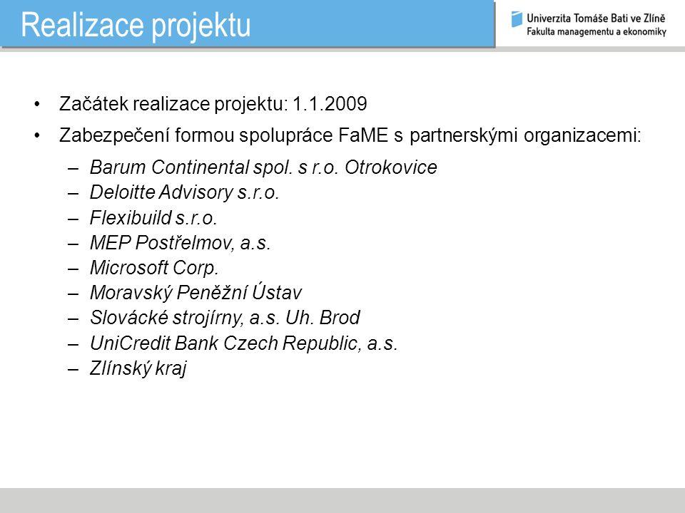 Realizace projektu Začátek realizace projektu: 1.1.2009 Zabezpečení formou spolupráce FaME s partnerskými organizacemi: –Barum Continental spol.
