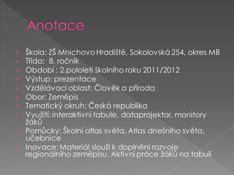  Škola: ZŠ Mnichovo Hradiště, Sokolovská 254, okres MB  Třída: 8.