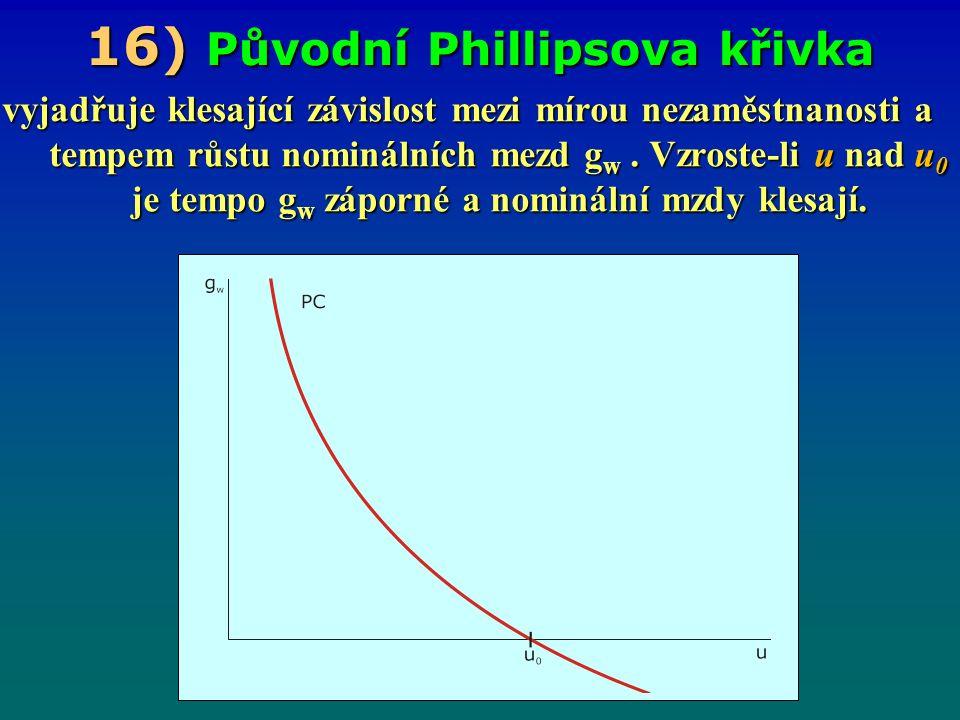 16 ) Původní Phillipsova křivka vyjadřuje klesající závislost mezi mírou nezaměstnanosti a tempem růstu nominálních mezd g w.