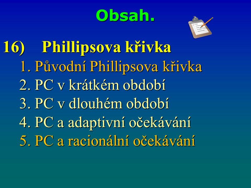 Obsah. 16) Phillipsova křivka 1. Původní Phillipsova křivka 2.