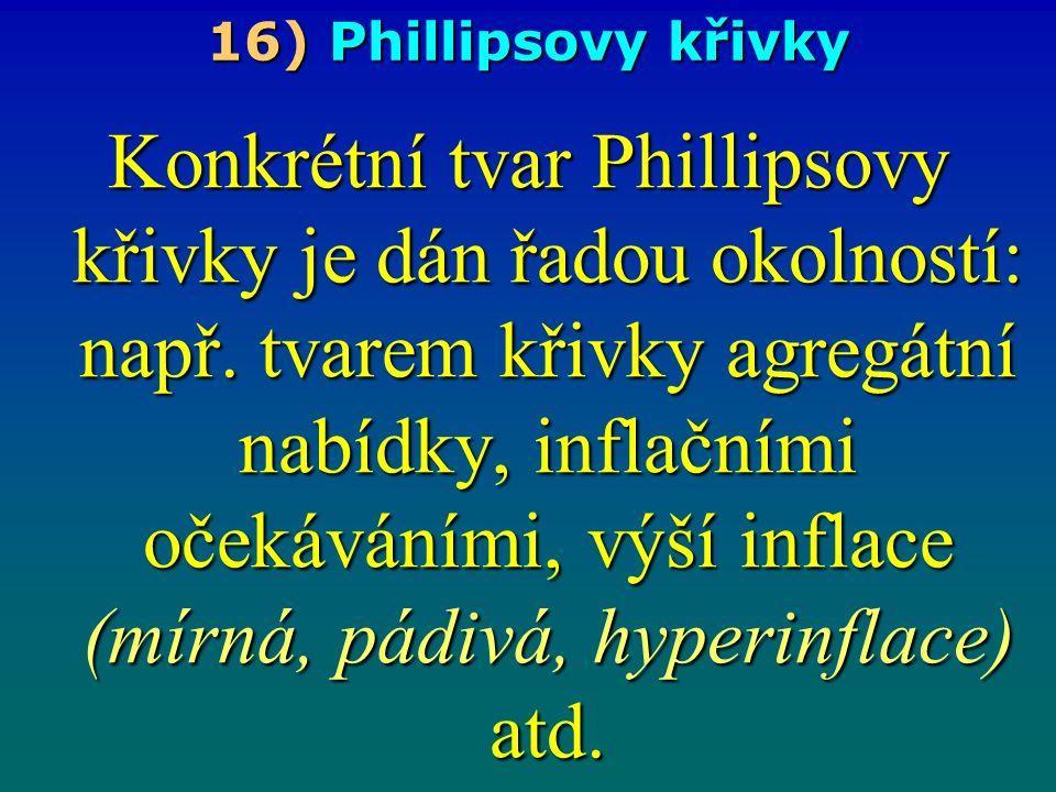 16) Phillipsovy křivky Konkrétní tvar Phillipsovy křivky je dán řadou okolností: např.