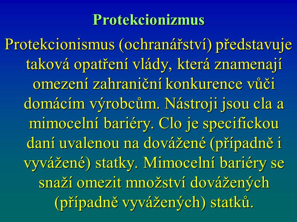 Protekcionizmus Protekcionismus (ochranářství) představuje taková opatření vlády, která znamenají omezení zahraniční konkurence vůči domácím výrobcům.