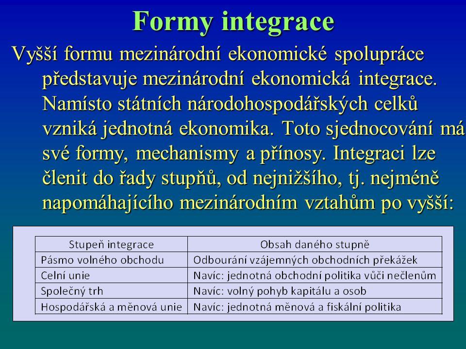 Formy integrace Vyšší formu mezinárodní ekonomické spolupráce představuje mezinárodní ekonomická integrace.