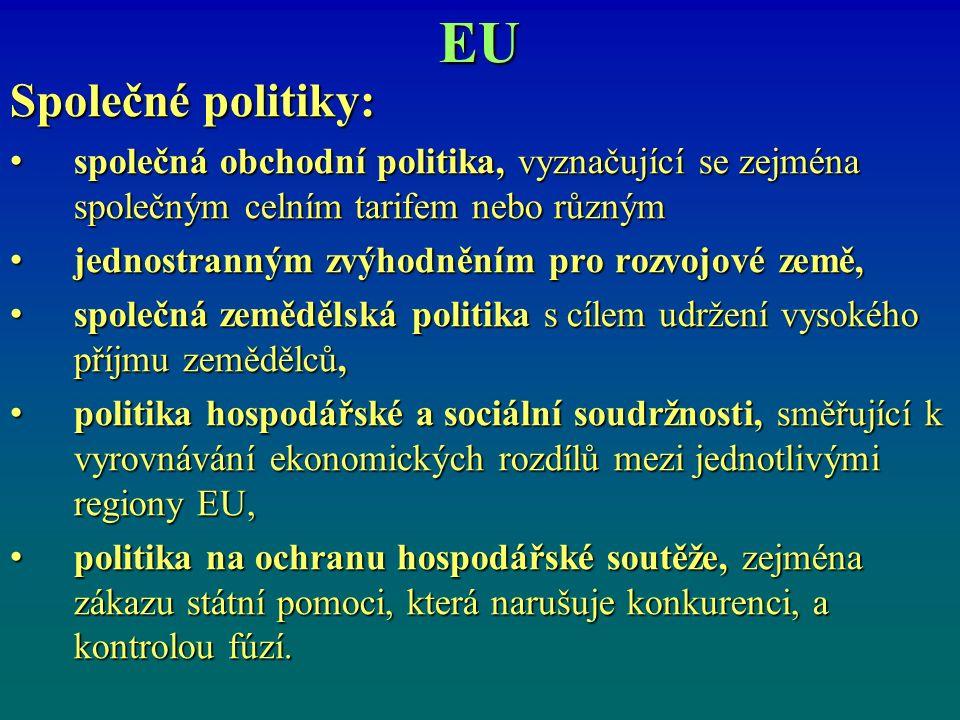 EU Společné politiky: společná obchodní politika, vyznačující se zejména společným celním tarifem nebo různým společná obchodní politika, vyznačující se zejména společným celním tarifem nebo různým jednostranným zvýhodněním pro rozvojové země, jednostranným zvýhodněním pro rozvojové země, společná zemědělská politika s cílem udržení vysokého příjmu zemědělců, společná zemědělská politika s cílem udržení vysokého příjmu zemědělců, politika hospodářské a sociální soudržnosti, směřující k vyrovnávání ekonomických rozdílů mezi jednotlivými regiony EU, politika hospodářské a sociální soudržnosti, směřující k vyrovnávání ekonomických rozdílů mezi jednotlivými regiony EU, politika na ochranu hospodářské soutěže, zejména zákazu státní pomoci, která narušuje konkurenci, a kontrolou fúzí.