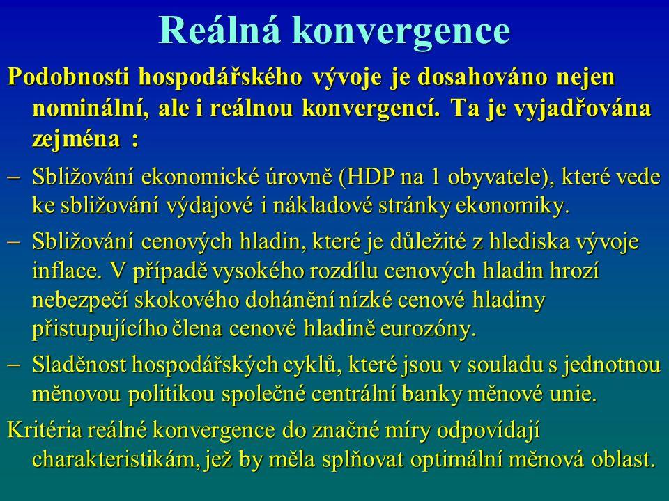 Reálná konvergence Podobnosti hospodářského vývoje je dosahováno nejen nominální, ale i reálnou konvergencí.