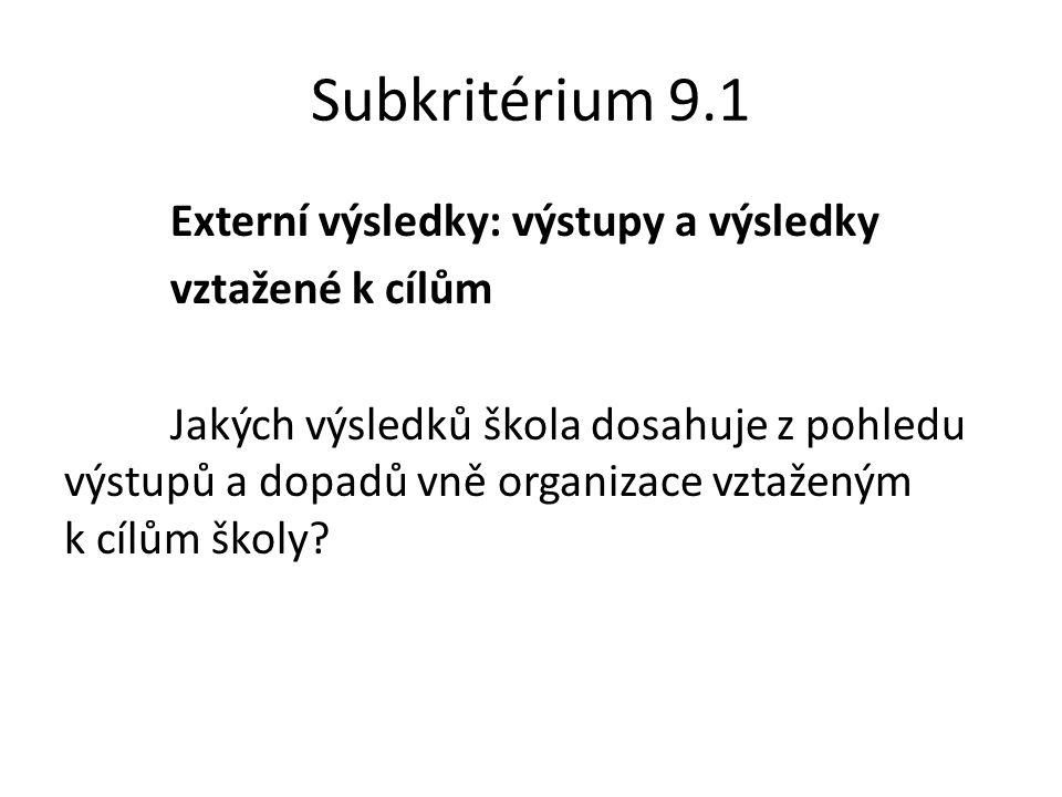 Subkritérium 9.1 Externí výsledky: výstupy a výsledky vztažené k cílům Jakých výsledků škola dosahuje z pohledu výstupů a dopadů vně organizace vztaženým k cílům školy
