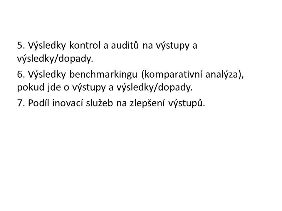 5. Výsledky kontrol a auditů na výstupy a výsledky/dopady.