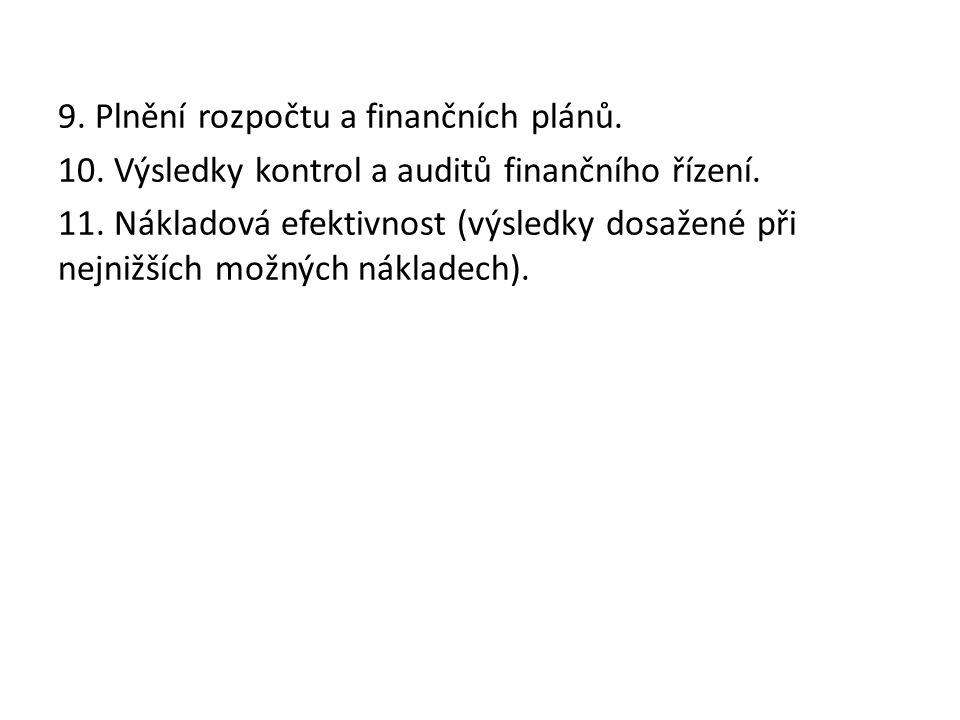 9. Plnění rozpočtu a finančních plánů. 10. Výsledky kontrol a auditů finančního řízení.