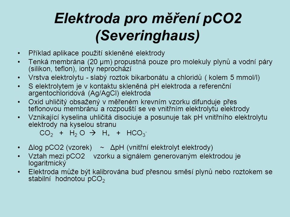 Elektroda pro měření pCO2 (Severinghaus) Příklad aplikace použití skleněné elektrody Tenká membrána (20 µm) propustná pouze pro molekuly plynů a vodní páry (silikon, teflon), ionty neprochází Vrstva elektrolytu - slabý roztok bikarbonátu a chloridů ( kolem 5 mmol/l) S elektrolytem je v kontaktu skleněná pH elektroda a referenční argentochloridová (Ag/AgCl) elektroda Oxid uhličitý obsažený v měřeném krevním vzorku difunduje přes teflonovou membránu a rozpouští se ve vnitřním elektrolytu elektrody Vznikající kyselina uhličitá disociuje a posunuje tak pH vnitřního elektrolytu elektrody na kyselou stranu CO 2 + H 2 O  H + + HCO 3 - Δlog pCO2 (vzorek) ~ ΔpH (vnitřní elektrolyt elektrody) Vztah mezi pCO2 vzorku a signálem generovaným elektrodou je logaritmický Elektroda může být kalibrována buď přesnou směsí plynů nebo roztokem se stabilní hodnotou pCO 2
