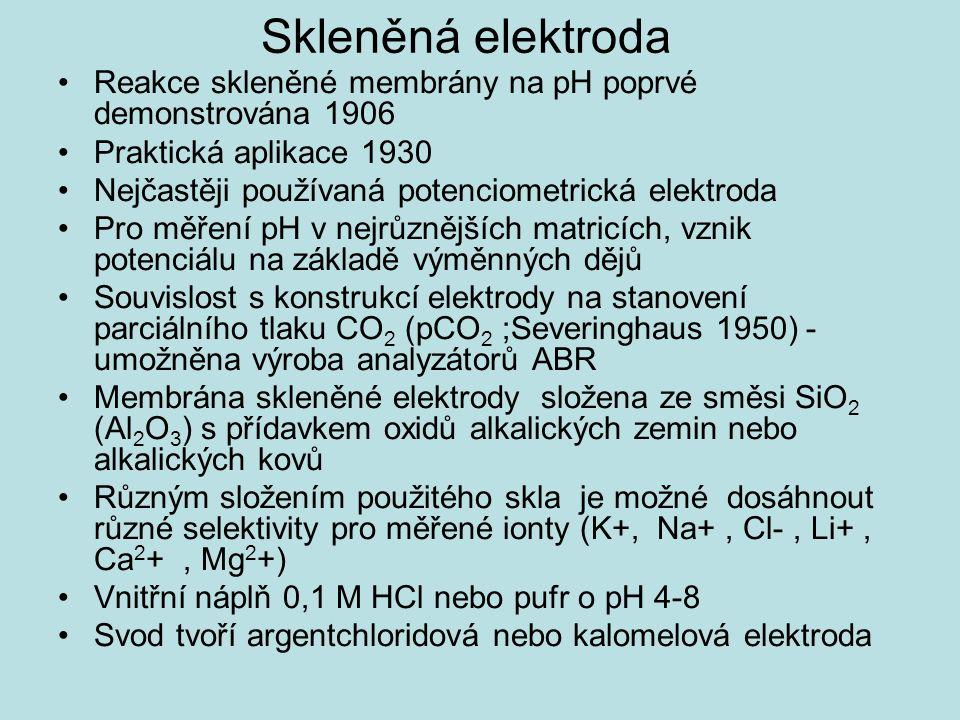 Skleněná elektroda Reakce skleněné membrány na pH poprvé demonstrována 1906 Praktická aplikace 1930 Nejčastěji používaná potenciometrická elektroda Pro měření pH v nejrůznějších matricích, vznik potenciálu na základě výměnných dějů Souvislost s konstrukcí elektrody na stanovení parciálního tlaku CO 2 (pCO 2 ;Severinghaus 1950) - umožněna výroba analyzátorů ABR Membrána skleněné elektrody složena ze směsi SiO 2 (Al 2 O 3 ) s přídavkem oxidů alkalických zemin nebo alkalických kovů Různým složením použitého skla je možné dosáhnout různé selektivity pro měřené ionty (K+, Na+, Cl-, Li+, Ca 2 +, Mg 2 +) Vnitřní náplň 0,1 M HCl nebo pufr o pH 4-8 Svod tvoří argentchloridová nebo kalomelová elektroda