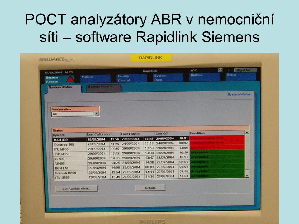 POCT analyzátory ABR v nemocniční síti – software Rapidlink Siemens