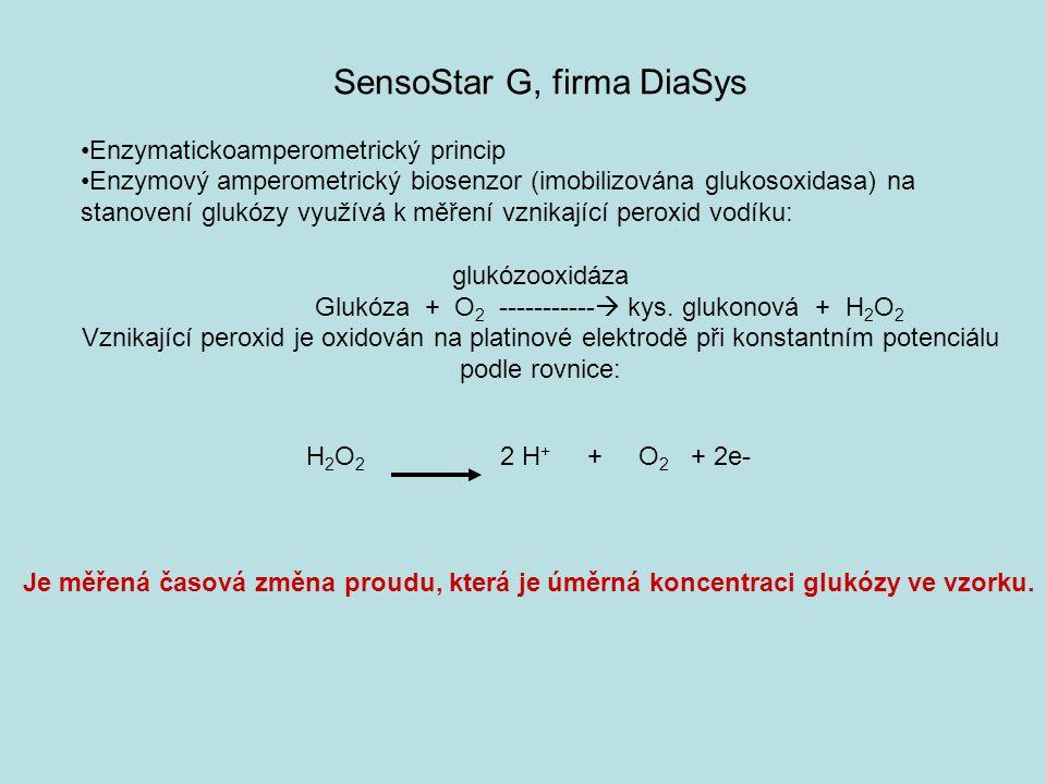 H 2 O 2 2 H + + O 2 + 2e- Je měřená časová změna proudu, která je úměrná koncentraci glukózy ve vzorku.