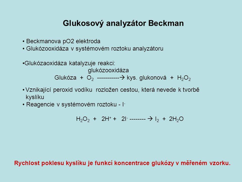 Glukosový analyzátor Beckman Beckmanova pO2 elektroda Glukózooxidáza v systémovém roztoku analyzátoru Glukózaoxidáza katalyzuje reakci: glukózooxidáza Glukóza + O 2 -----------  kys.